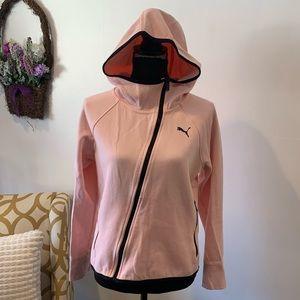 Puma Pink with Black Zip Hoodie Small